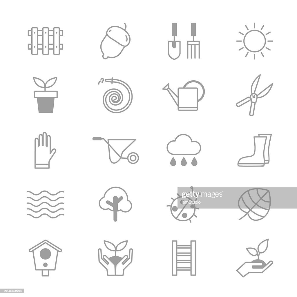 Garden and Tools Icons Line Set Of Vector Illustration