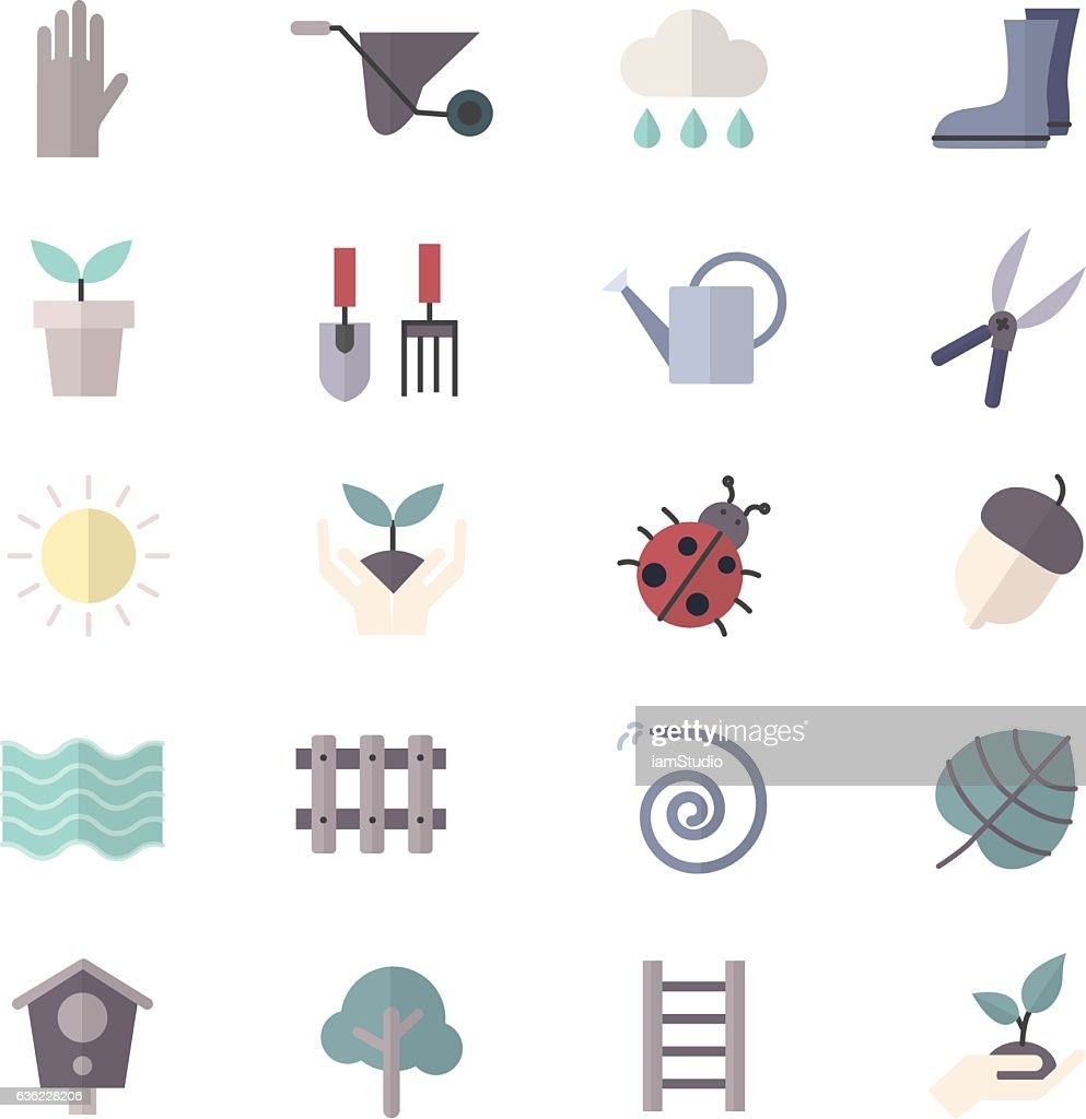 Garden and Tools Icons Set Of Vector Colorful Flat