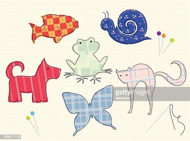 ilustraciones, imágenes clip art, dibujos animados e iconos de stock de parches de los animales al jardín - patchwork