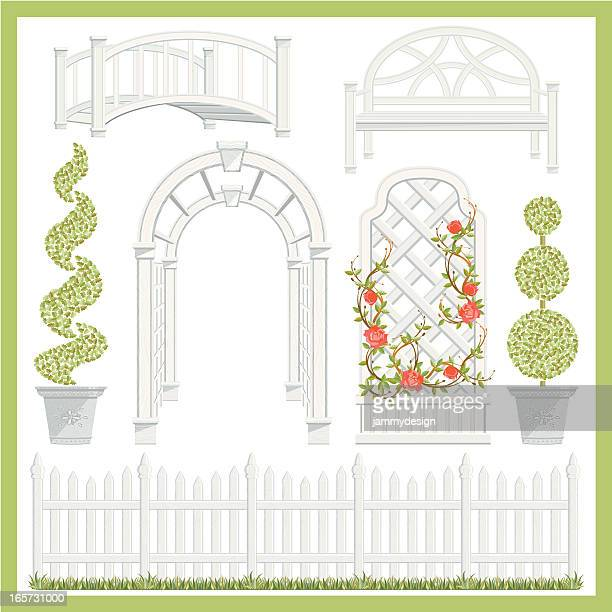 garden architecture set - architectural feature stock illustrations, clip art, cartoons, & icons