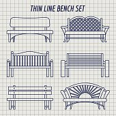 Garden bench set on notebook background