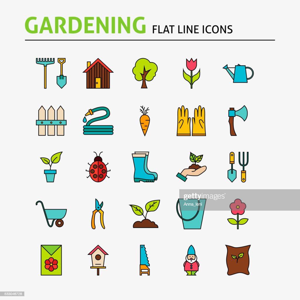 Garden Colorful Flat Line Icons Set