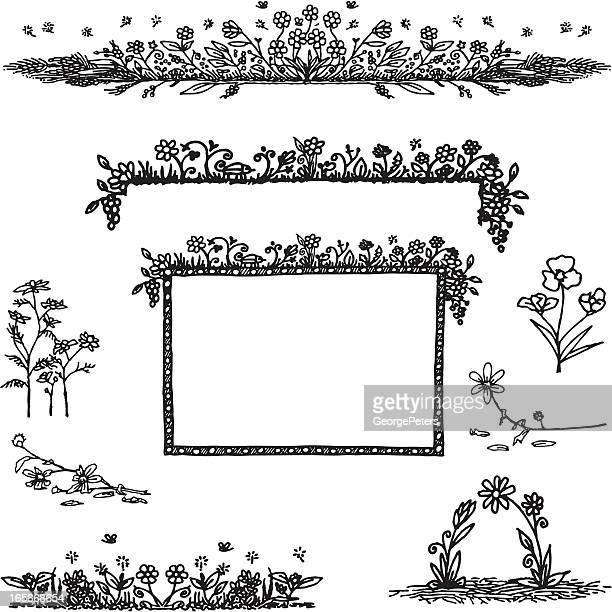 ilustrações, clipart, desenhos animados e ícones de jardim doodle - moldura preta