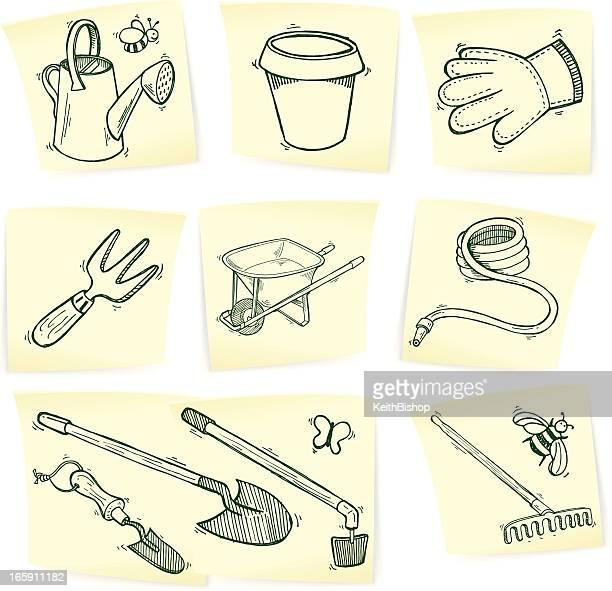 garden doodles on sticky notes - gardening glove stock illustrations, clip art, cartoons, & icons