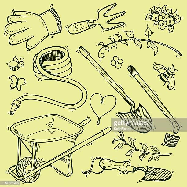 garden equipment tools - doodles for spring - gardening glove stock illustrations, clip art, cartoons, & icons