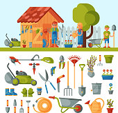 Garden farm instruments tools and farmer family near house various agricultural tools for gardening care colorful vector flat illustration