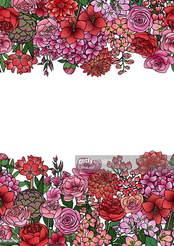 Garden Flowers Seamless Border