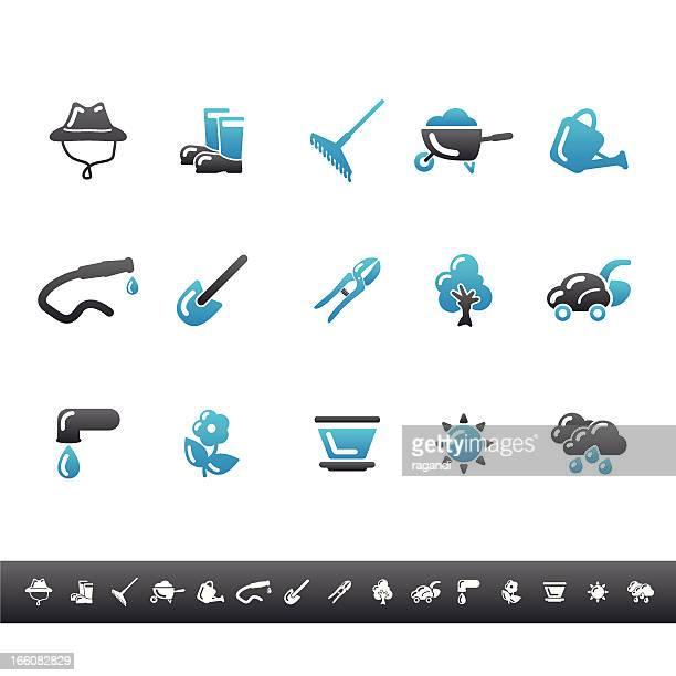 Garden & Gardener Icons   Blue Grey