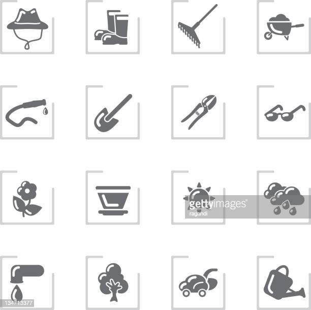 Garden & Gardener Icons   Framed Grey