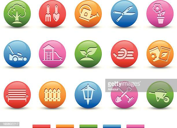 garden & gardening icons | satin series - hedge trimmer stock illustrations, clip art, cartoons, & icons