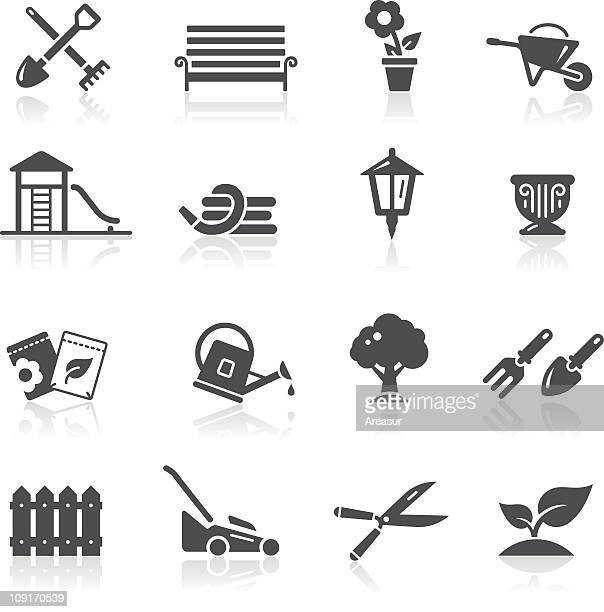 garden & gardening icons - hedge trimmer stock illustrations, clip art, cartoons, & icons