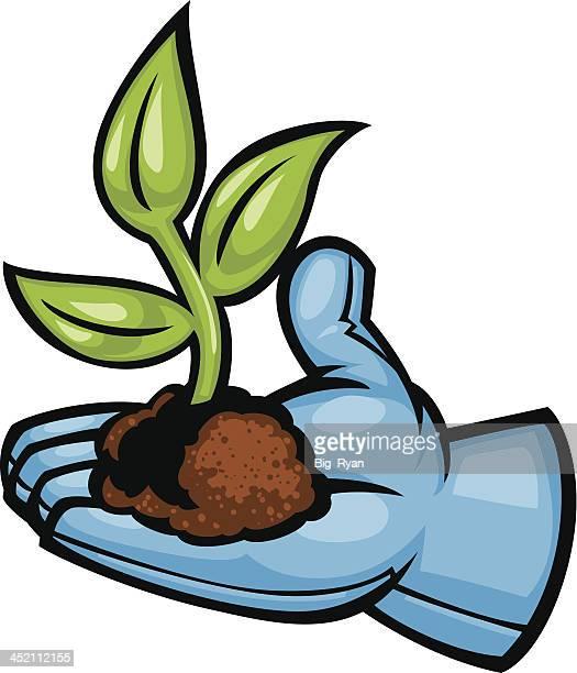 garden glove plant - gardening glove stock illustrations, clip art, cartoons, & icons