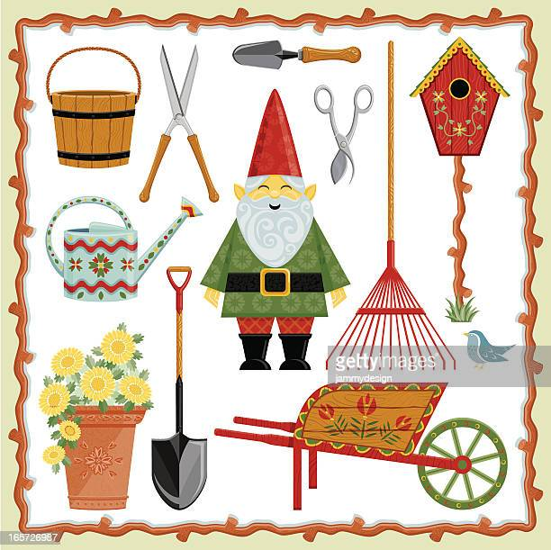 garden gnome and tools - pruning shears stock illustrations, clip art, cartoons, & icons