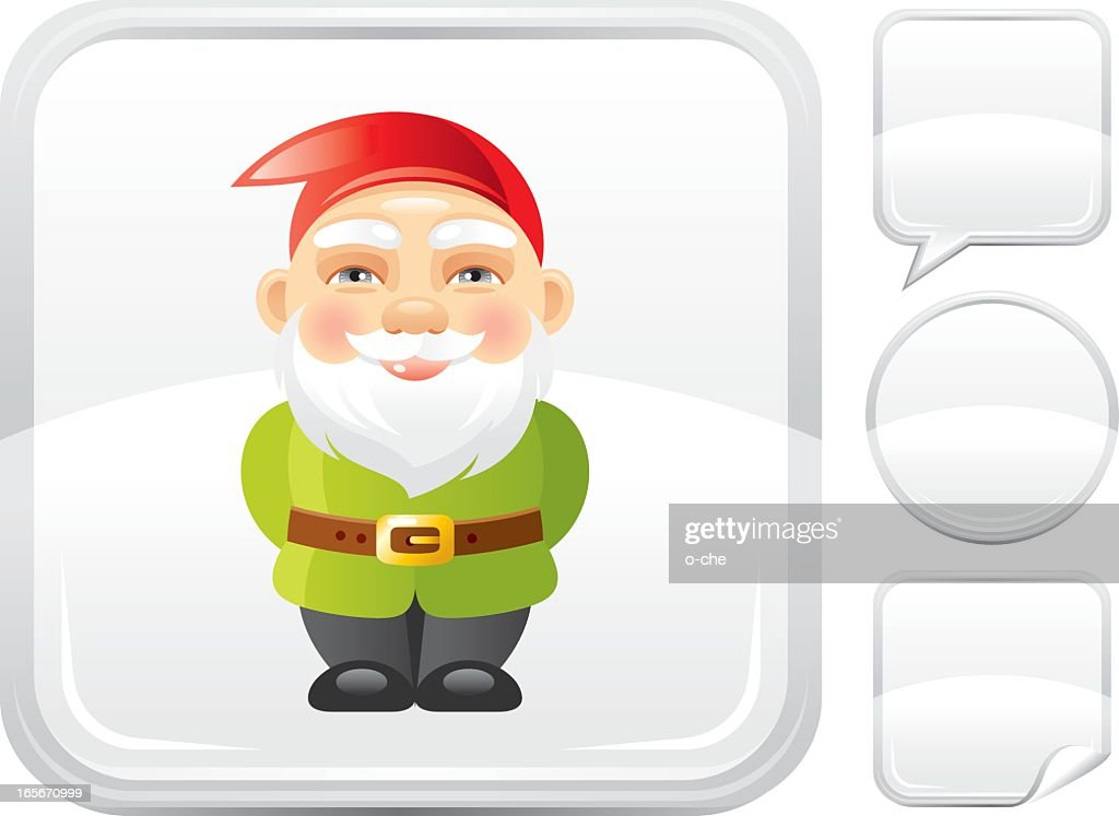Garden gnome icon on silver button