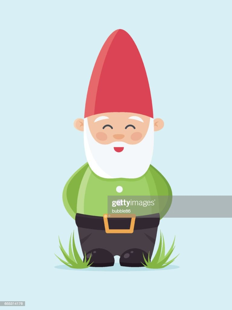Garden Gnome on Blue Background.