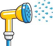 Garden hose nozzle spraying water