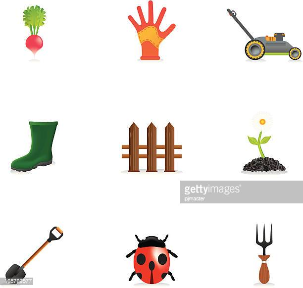 garden icons - gardening glove stock illustrations, clip art, cartoons, & icons
