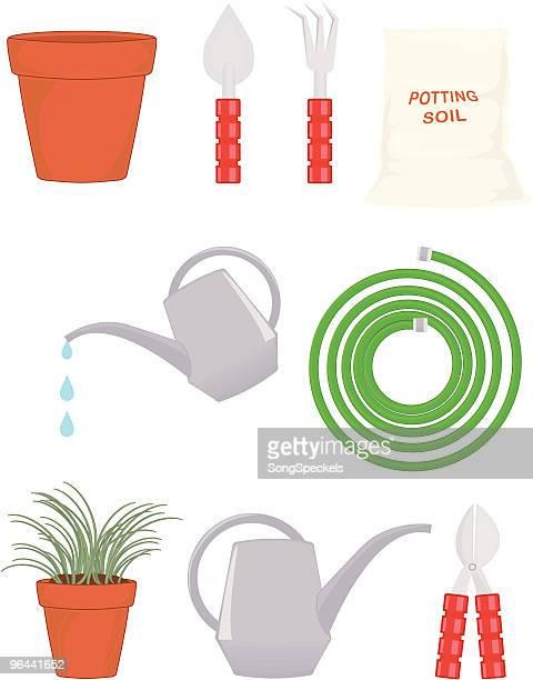 garden icons - earthenware stock illustrations, clip art, cartoons, & icons
