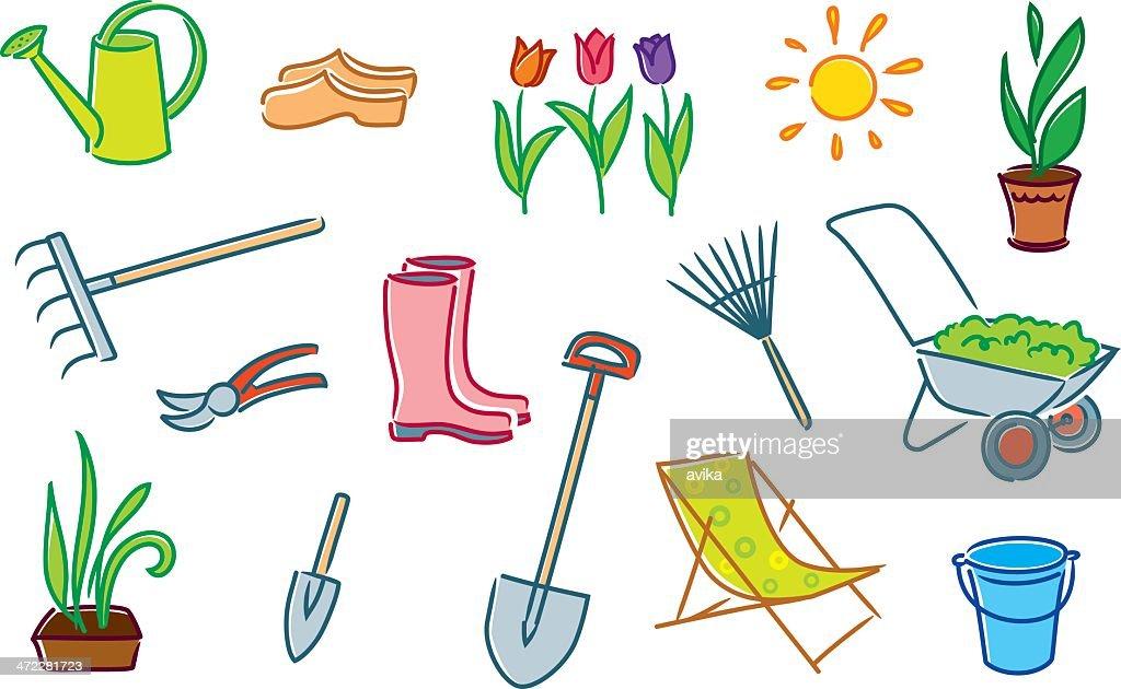 Garden objects background