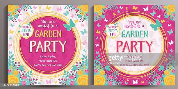 ilustrações, clipart, desenhos animados e ícones de garden party invitation. set of two floral square cards - borboleta