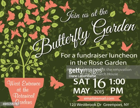 Garden Party Invitation Template Fundraiser Vector Art | Getty Images