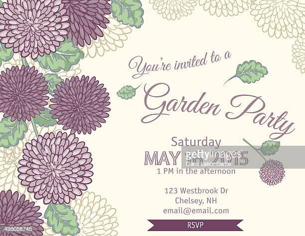 ガーデンパーティの招待状テンプレート - キク科点のイラスト素材/クリップアート素材/マンガ素材/アイコン素材