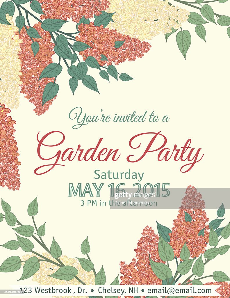 Garden Party Invitation Template Vector Art Getty Images