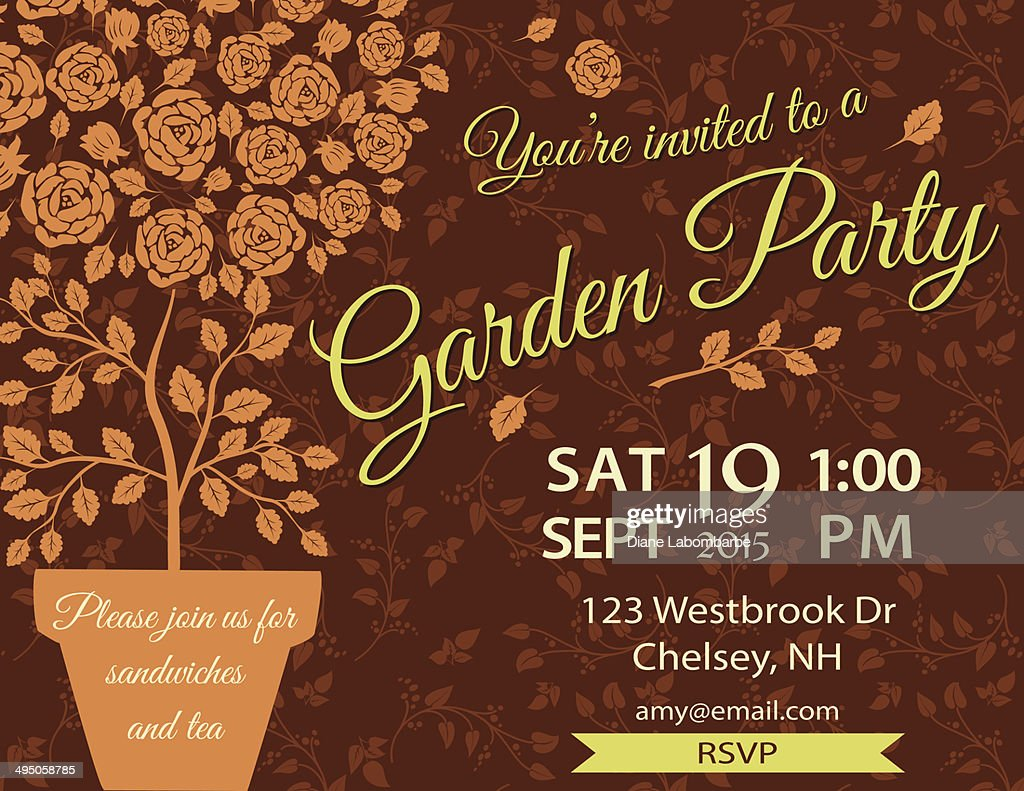 Garden Party Invitation Template Vector Art | Getty Images