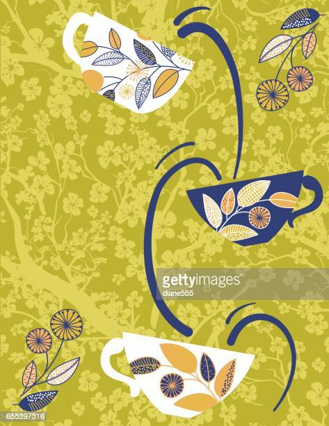 Garden Party or Afternoon Tea Background Template