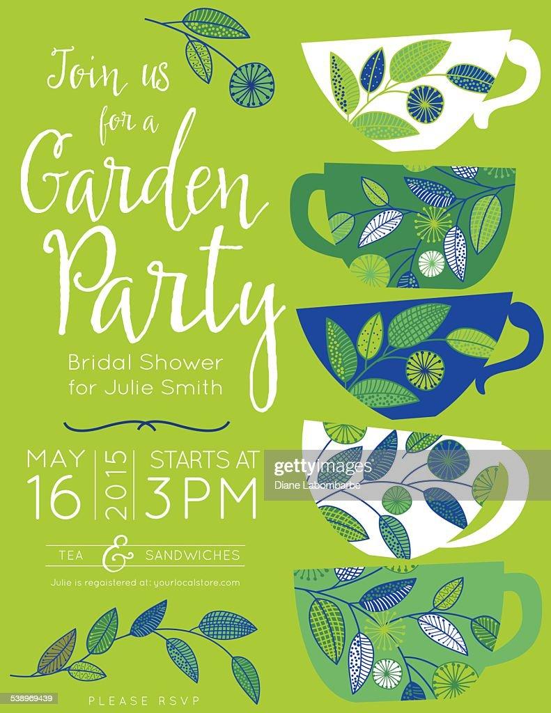 garden party tea bridal shower invitation template vector art getty images. Black Bedroom Furniture Sets. Home Design Ideas