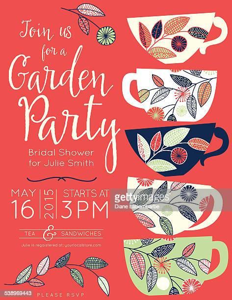 Garden Party Tea Bridal Shower Invitation Template