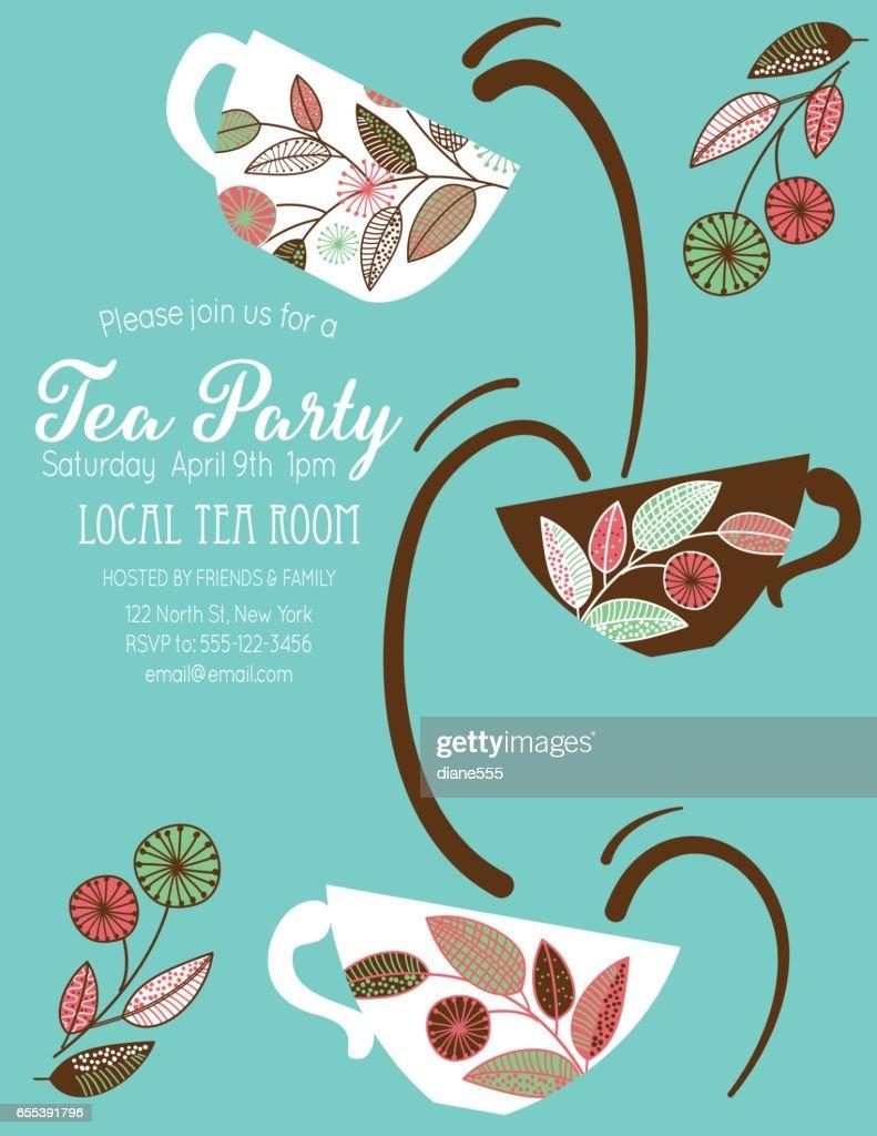 Gartenparty Tee Brautdusche Einladung Vorlage Vektorgrafik | Getty ...