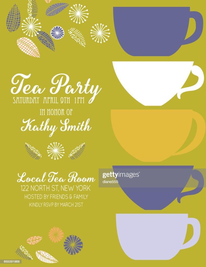 Garden Party Tea Bridal Shower Invitation Template Vector Art