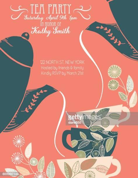 ガーデンパーティティーのブライダルシャワーの招待状テンプレート - 温かいお茶点のイラスト素材/クリップアート素材/マンガ素材/アイコン素材