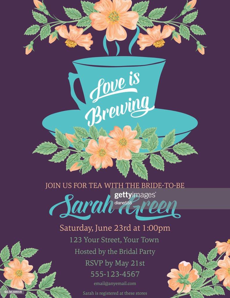f6a4c5a39ea Garden Party Tea Bridal Shower Invitation Template Vector Art ...