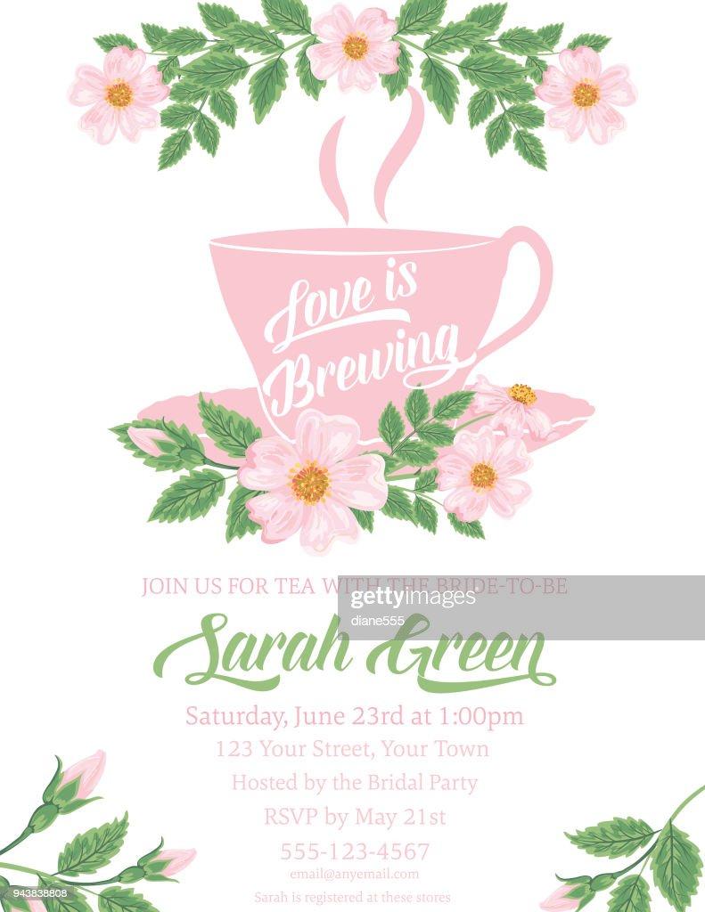 ac8df8a4226 Garden Party Tea Bridal Shower Invitation Template stock vector ...