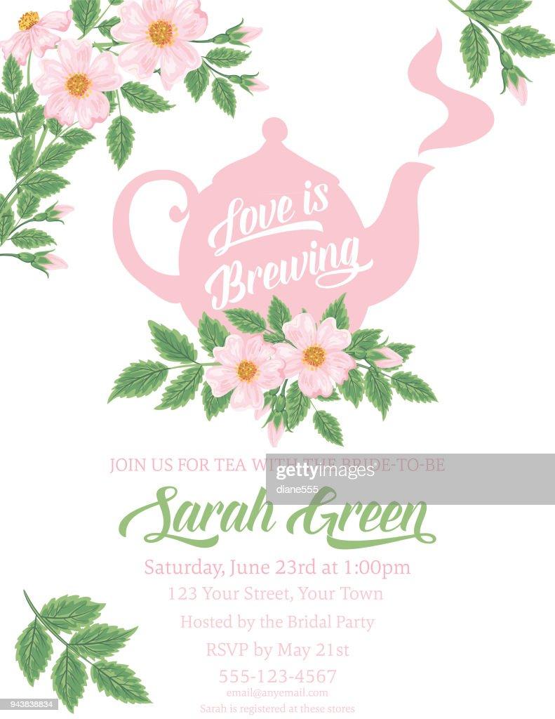 Garden Party Tea Bridal Shower Invitation Template Vector Art - Bridal shower announcement template