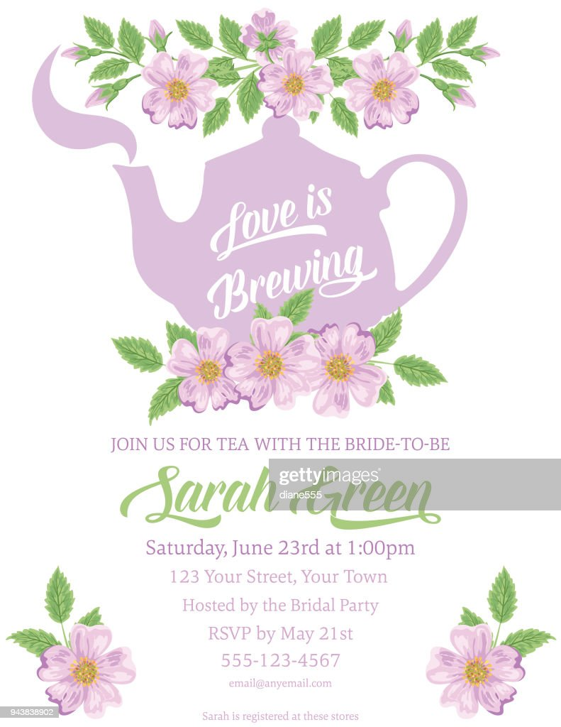 Garden Party Tea Bridal Shower Invitation Template Vector Art ...