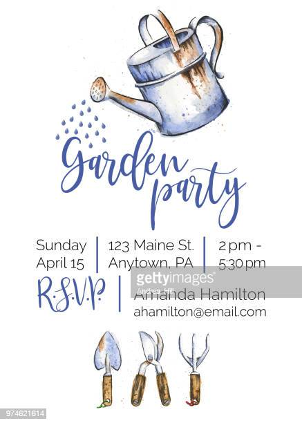 garden party watercolor and ink invitation design - watering can stock illustrations
