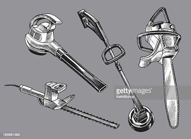 garden power tools - equipment - weed wacker stock illustrations, clip art, cartoons, & icons