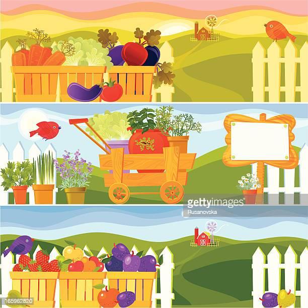 garden season banners - agricultural fair stock illustrations, clip art, cartoons, & icons