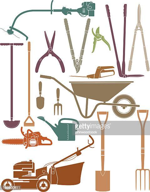 garden stuff - weed wacker stock illustrations, clip art, cartoons, & icons