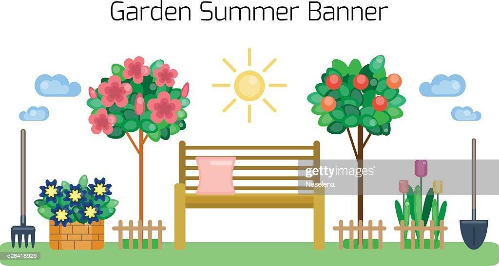 Garden summer banner. Bench in the garden