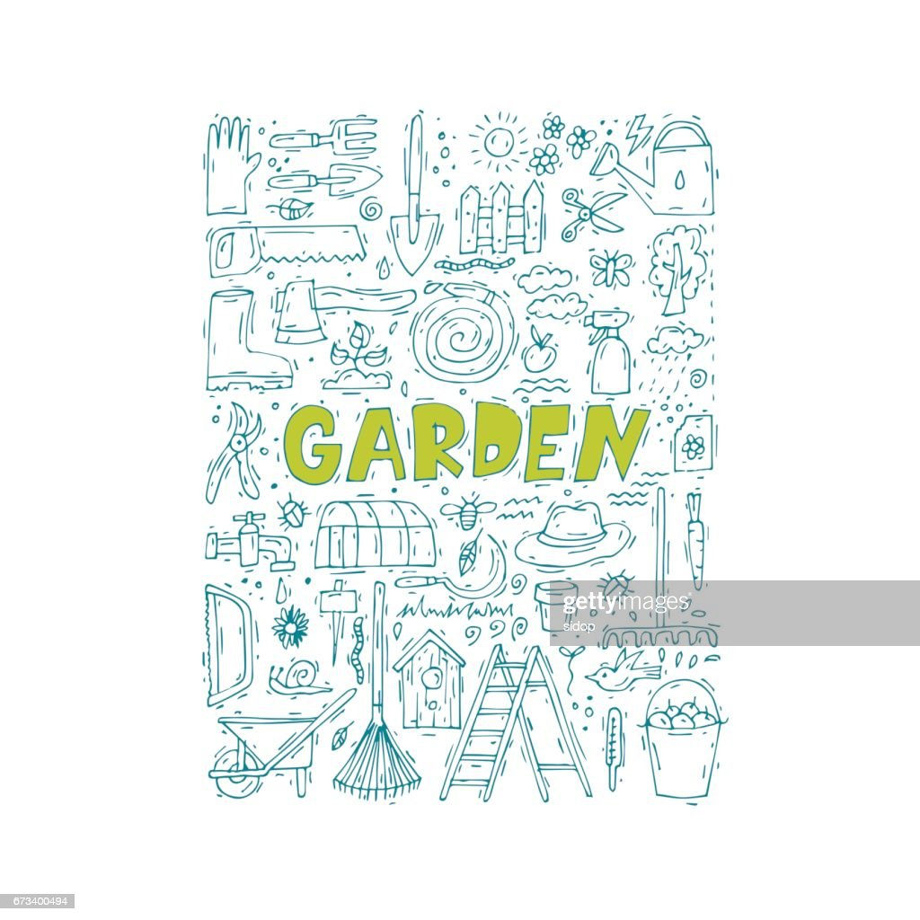 Garden tools doodle. Spring. Agriculture. Hand drawn. Vector illustration isolated on white background.