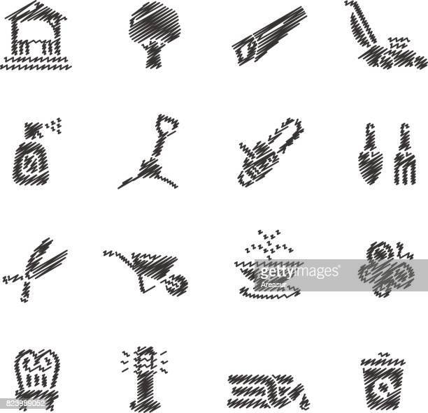 Garden Tools & Furniture Icons // Scribble series