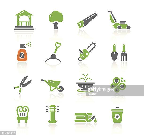 garden tools & furniture icons | spring series - landscaper stock illustrations, clip art, cartoons, & icons