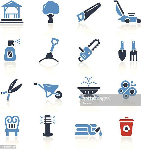 garden tools & furniture icons- two colors | pro series - sprinkler stock illustrations