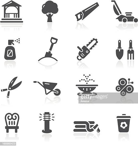 garden tools & furniture icons - sprinkler stock illustrations
