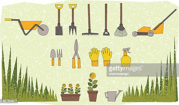garden tools illustration - gardening glove stock illustrations, clip art, cartoons, & icons