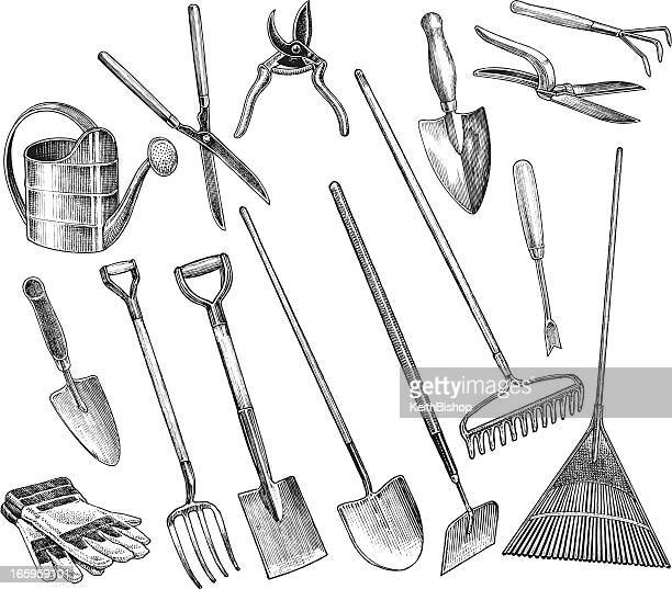 garden tools - spade, hoe, shovel, trowel - gardening stock illustrations